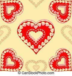 corações,  valentines, Dia, vermelho,  seamless