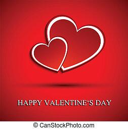 corações,  valentines, dois, vermelho, Dia