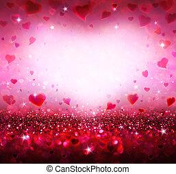 corações, valentines, fundo