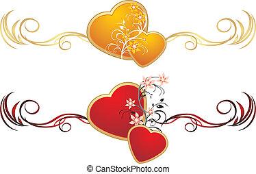 corações, vermelho, ouro