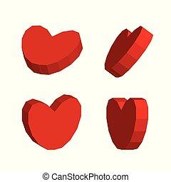 corações, vetorial, 3d