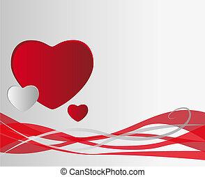 corações, vetorial, fundo
