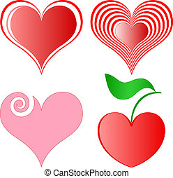 corações, vetorial, jogo