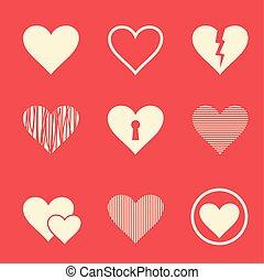 corações, vetorial, jogo, ilustração