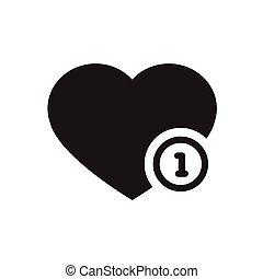 corações, vetorial, pretas, ícone