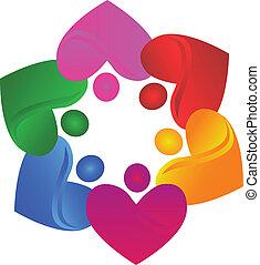 corações, vetorial, trabalho equipe, logotipo