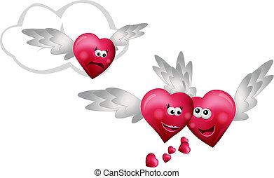 corações, voando, três