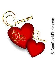 corações, volumetric, branca, dois, vermelho
