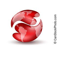 corações, yin yang símbolo, com, mapa mundial