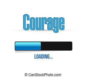 coragem, carregando, sinal barra, conceito, ilustração