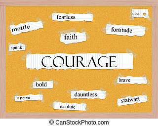 coragem, corkboard, palavra, conceito