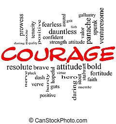 coraggio, parola, nuvola, concetto, in, rosso, cappucci