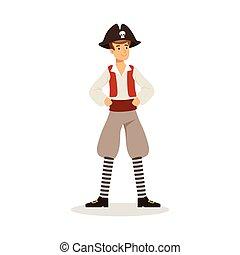 coraggioso, pirata, marinaio, carattere, vettore, illustrazione