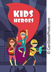 coraggioso, superhero, bambini, cartone animato, vettore, manifesto