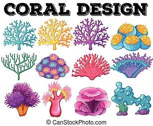 corail, différent, conception, espèce
