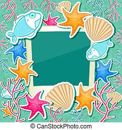 corail, etoile mer, seashell, porte-photo, fish