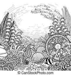 corail, graphisme, récif