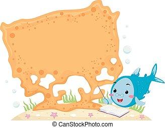 corail, planche, fish, illustration, prof