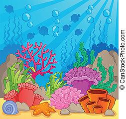 corail, thème, image, récif, 3