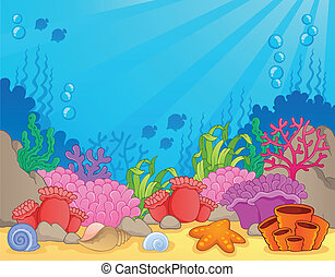 corail, thème, image, récif, 4