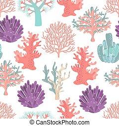 corais, padrão, seamless