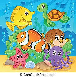 coral, 2, imagen, tema, pez