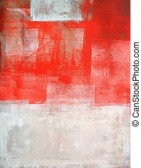 Coral and Beige Abstract Art - This is an image of an...
