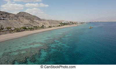 Aerial seascape of Coral Beach Nature Reserve in Eilat, Israel. It's one of the most beautiful coral reef in the world