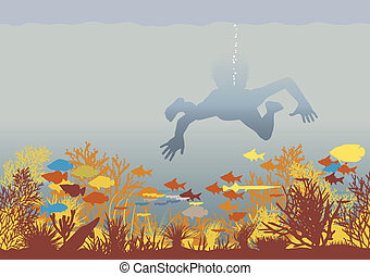 Coral boy - Editable vector illustration of a boy swimming...