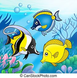Coral fish collection in sea - color illustration.