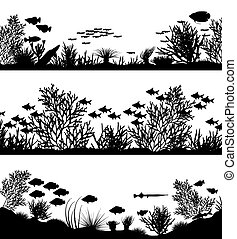 Coral foregrounds - Three editable vector sea coral...