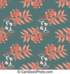 Coral forest bouquet seamless hand drawn pattern. Flowers and foliage silhouettes on grey background.