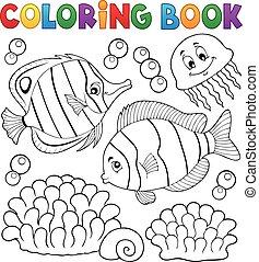coral, libro colorear, pez