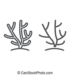 Coral line and glyph icon, ocean and underwater, tropical sign vector graphics, a linear pattern on a white background, eps 10.