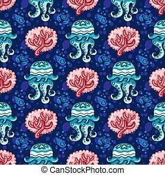coral, pattern., seamless, plano de fondo, náutico, medusa