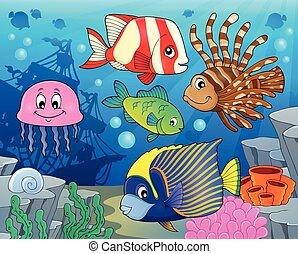 coral, pez, arrecife, tema, imagen