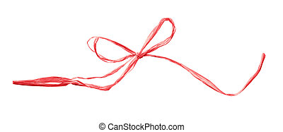 Coral raffia bow isolated on white