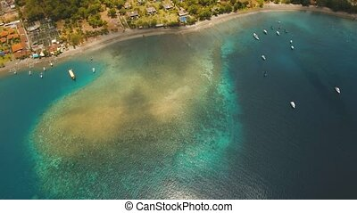 Coral Reef Atoll, Bali. - Aerial view coral reef, atoll with...