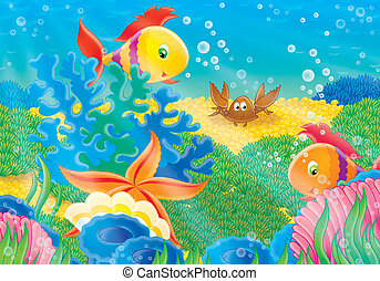 Coral reef - Coral fishes, starfish, shell and crab on a...