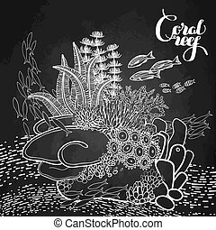 Coral reef design in line art style. Ocean plants and rocks...