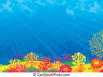 Coral reef - Colorful coral reef and blue water of a...