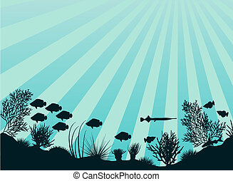 Coral reef - Editable vector illustration of an underwater...