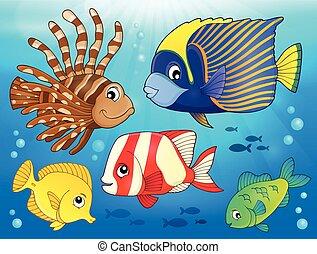 Coral reef fish theme image