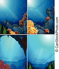 Coral reef - Four underwater scenes and coral reef