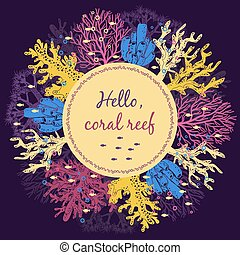Coral reef invitation card template