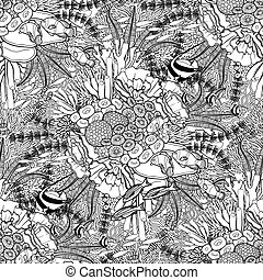 Coral reef pattern - Coral reef in line art style on white...
