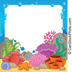 Coral reef theme frame 1 - vector illustration.