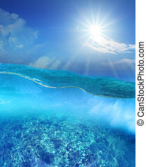 coral reef under deep blue sea water and sun shining over sky