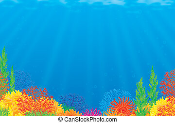 Coral reef - Underwater background with a colorful coral...