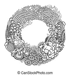 Coral reef wreath - Coral reef drawn in a line art style....